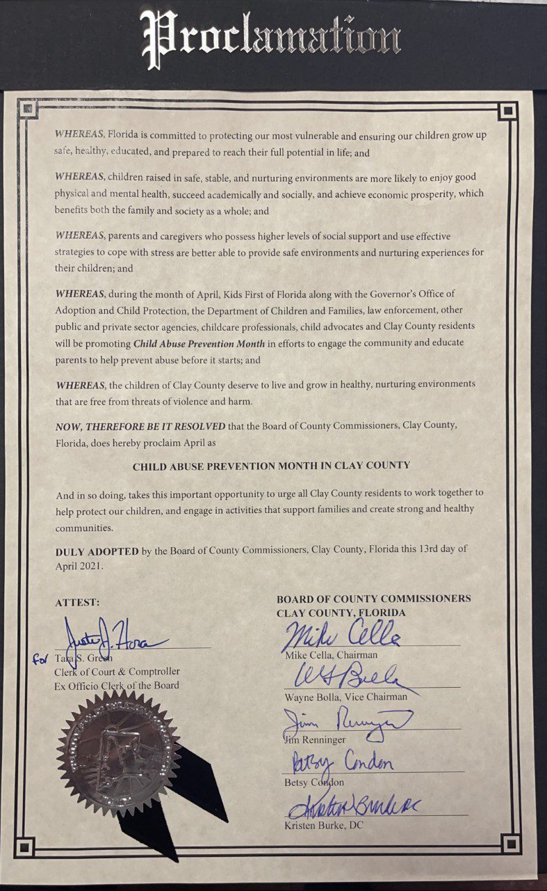 photo of proclamation for Child Abuse Prevention Month in Clay County Florida