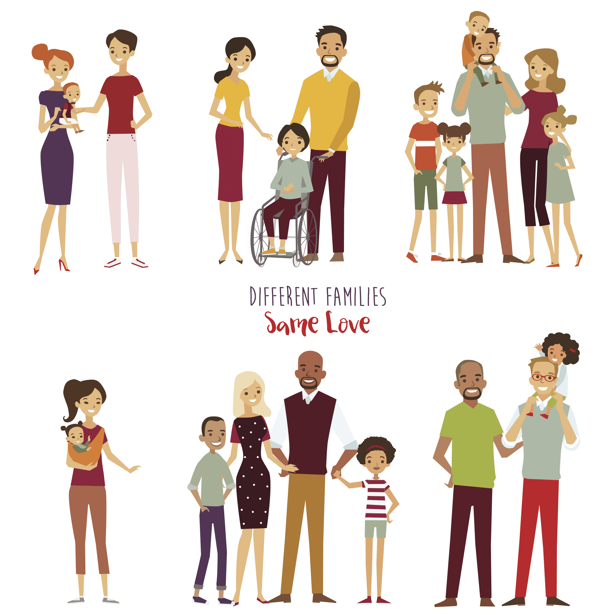 cartoon showing different kinds of families